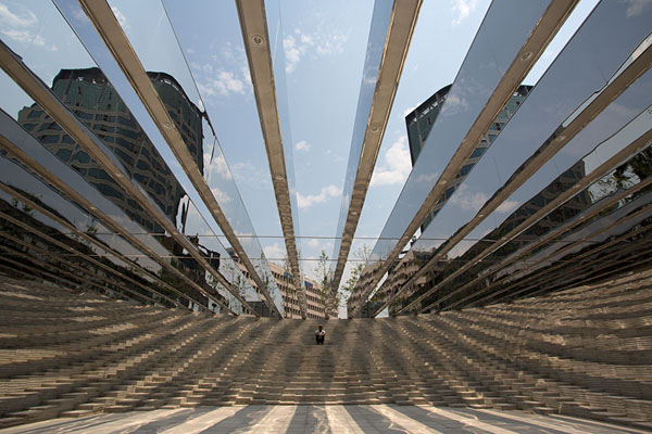 Picture of Yunseul consists of concrete formations topped by lines of mirrors - South Korea - Asia