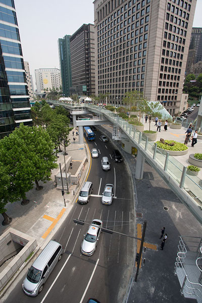 Picture of Traffic below the former overpass-turned-walkwaySeoul - South Korea