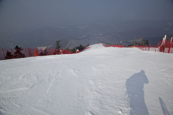 Looking down the beginning of the Rainbow slopes | Yongpyong skiing | South Korea