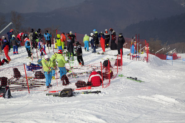 Competitors waiting for their turn at the Rainbow I run | Yongpyong skiing | South Korea