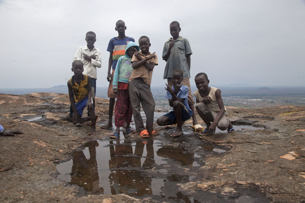 Picture of Kids posing for a picture on the top of Jebel KujulJuba - South Sudan