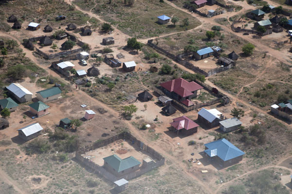 Picture of Juba Snapshots (South Sudan): Houses and huts in the suburbs of Juba seen from the sky