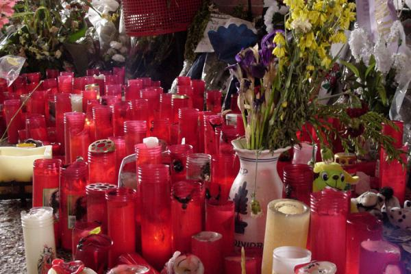 Candles under the tracks at El Pozo station, Madrid | 11 March | Spain
