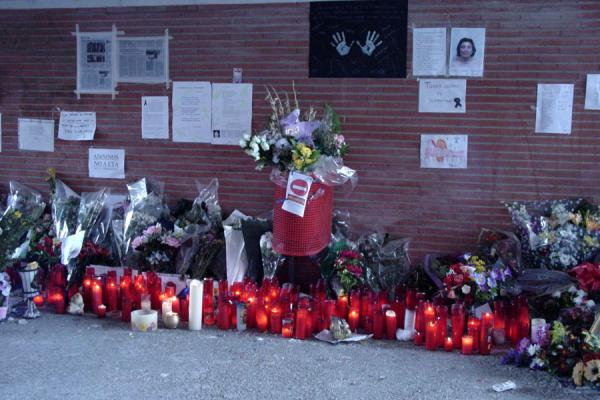 Some of the candles and flowers at El Pozo station, Madrid | 11 March | Spain