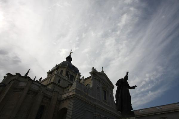 Picture of Almudena Cathedral (Spain): Almudena Cathedral in silhouette under a cloudy sky