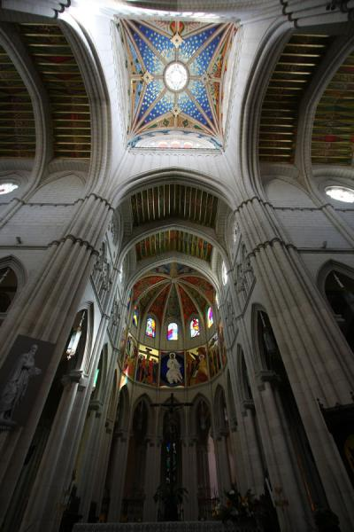 Picture of Almudena Cathedral (Spain): Ceiling and central dome high above the aisle of Almudena Cathedral