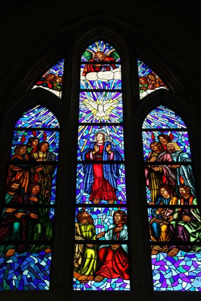 Picture of Almudena Cathedral (Spain): Religious scene on stained glass window of Almudena Cathedral