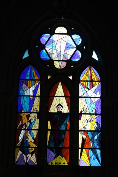 Picture of Almudena Cathedral (Spain): Modern stained glass window in Almudena Cathedral