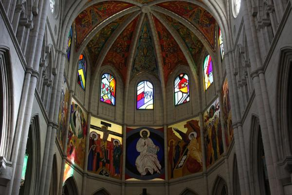 Picture of Almudena Cathedral (Spain): Colourful and modern apse of Almudena Cathedral