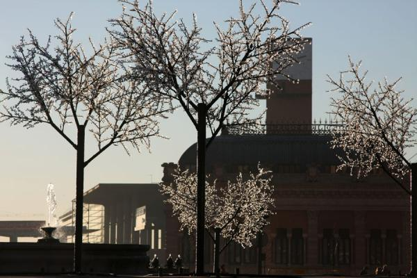 Tower of Atocha station seen through the trees at the square | Atocha Station | Spain