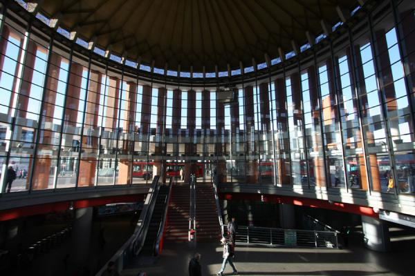Looking outside from inside the circular access building | Atocha Station | Spain