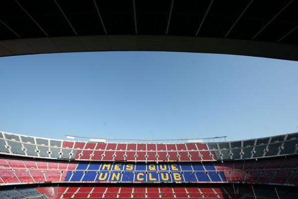 Camp Nou stadium with the motto of FC Barcelona | Camp Nou stadium | Spain