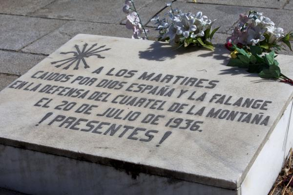 Picture of Falangista martyrs killed in the Spanish Civil War in the 1930s have their tombstone at the cemetery as well - Spain - Europe