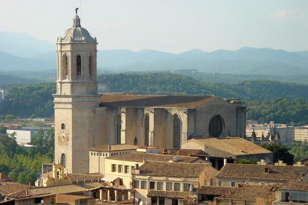 The majestic cathedral towering above Girona and the surrounding landscape | Girona | Spain