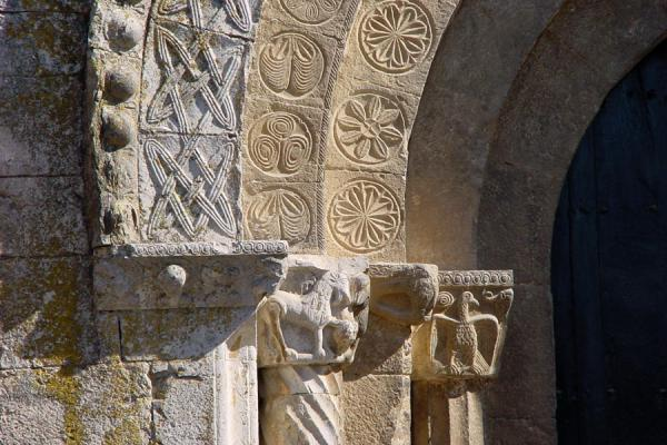 Picture of Girona (Spain): Monastery of Sant Pere de Galligants in Girona: detail of entrance