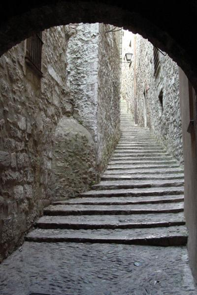 Silent stone stair street in the old part of Girona | Girona | Spain