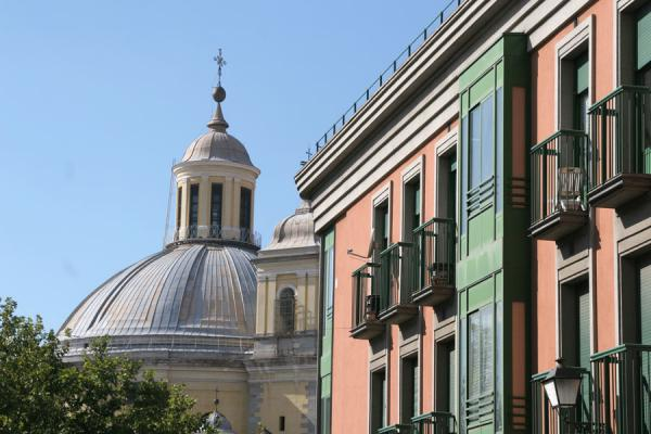 Houses and cupola of San Francisco church in Latina | Latina | Spain
