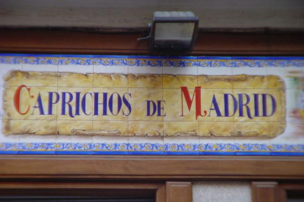 Picture of Madrid Decorations (Spain): Decorated tiles outside shop - Madrid