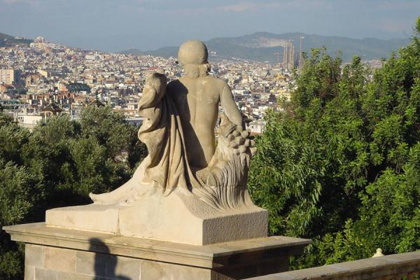 Statue looking out over the city, note the Sagrada Familia on the right | Montjuïc | Spain