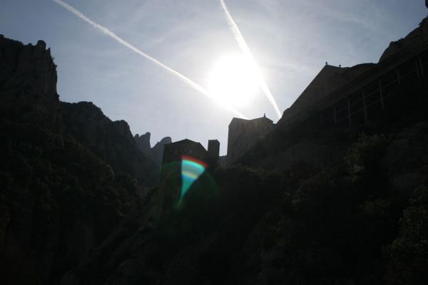 Silhouette of Montserrat monastery and mountains | Montserrat | Spain