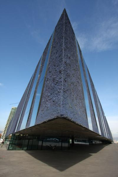 One of the most remarkable buildings: triangular, purple with irregular glass | Parc Diagonal Mar | Spain