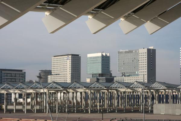 View towards the city from under the enormous solar panels | Parc Diagonal Mar | Spain
