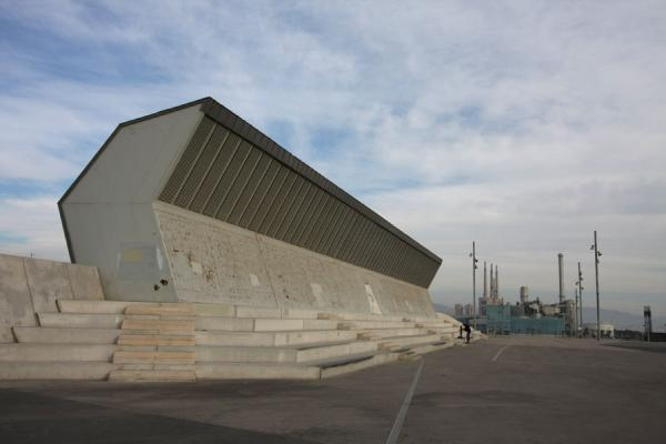 Picture of Parc Diagonal Mar (Spain): Cyclist, stairs and industry at Parc Diagonal Mar