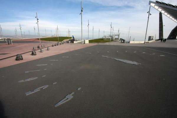 Picture of Parc Diagonal Mar (Spain): Skyline of lanterns, and solar clock and panel