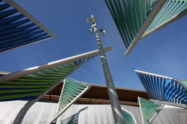 Picture of Parc Diagonal Mar (Spain): Artistic structures outside one of the buildings of Parc Diagonal Mar