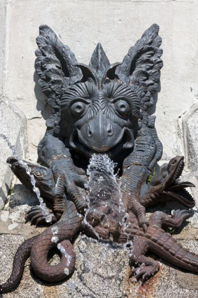 Detail of animals at a spout of the Fountain of the Falling Angel | Buen Retiro Park | Spain