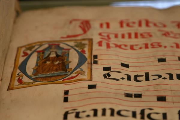 Picture of Pedralbes monastery (Spain): Close-up of ancient book in the collection of Pedralbes monastery