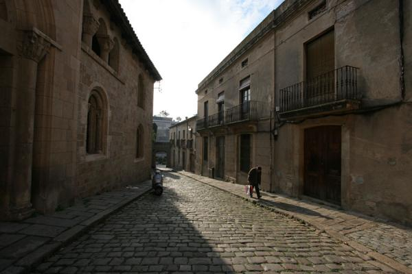 Man walking up the cobble stone street leading to Pedralbes monastery | Pedralbes monastery | Spain