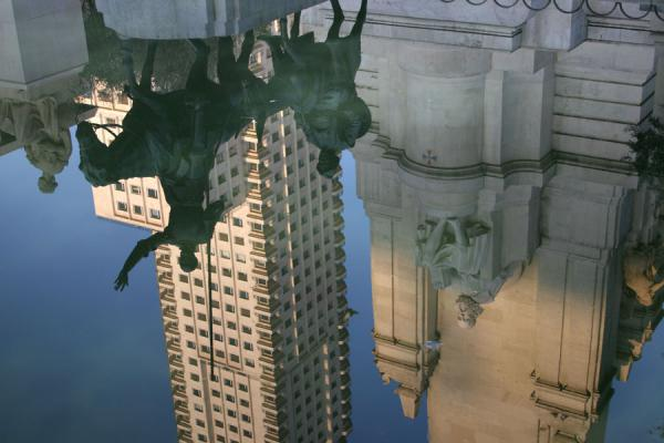 Reflection of Don Quixote, Sancho Pancha, and surrounding buildings in pond of Plaza de España | Plaza de España | Spain