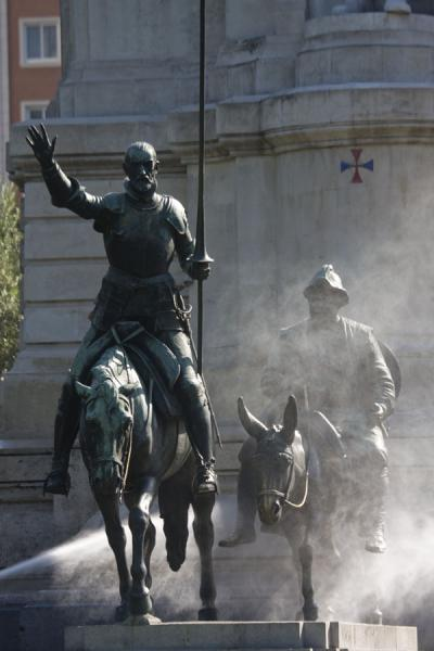 Don Quixote on his horse and Sancho Panza on a mule at the Cervantes Monument | Plaza de España | Spain