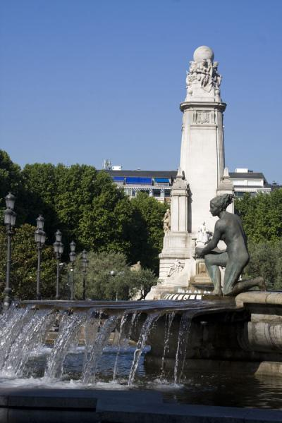 Statue with fountain and Cervantes Monument in the background | Plaza de España | Spain