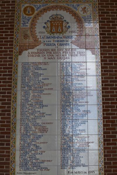 List of honour of toreros who exited through the Big Door | Arena di corrida Las Ventas | Spagna