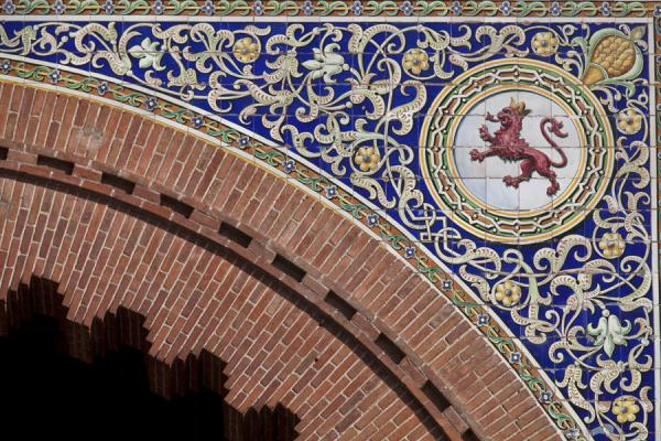 Picture of Bullfight Arena Las Ventas (Spain): Colourful tiles decorate the outside of the Ventas plaza de toros