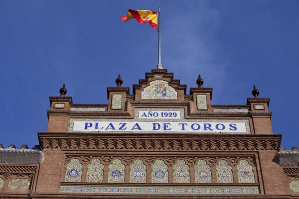 Detail of the facade of the Plaza de Toros of Las Ventas | Stierenvechtersarena Las Ventas | Spanje