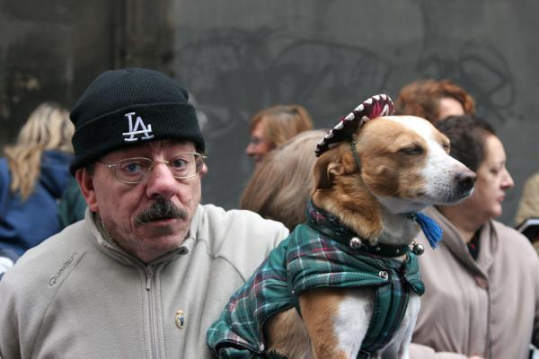 Man with his dog with a sombrero | Animal blessing San Antón | Spain
