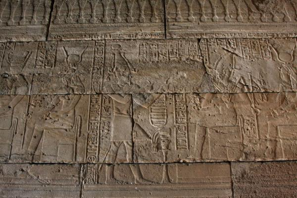 Egyptian wall decoration on a wall inside the Temple of Debod | Temple of Debod | Spain