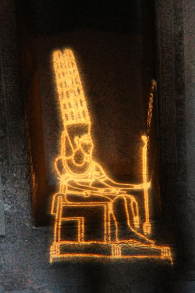 Picture of Temple of Debod (Spain): Egyptian God Amun projected on a wall inside the Temple of Debod