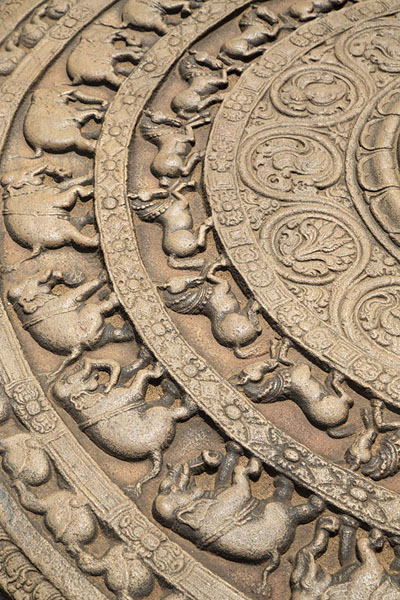 Close-up of carved entrance to the Polonnaruwa Vatadage at the Sacred Quadrangle | Ancient City of Polonnaruwa | Sri Lanka