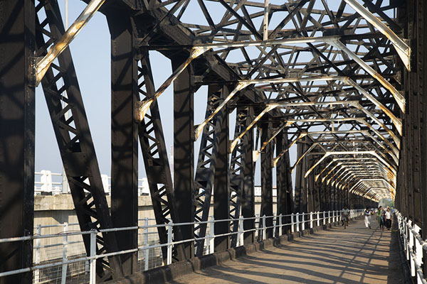 Picture of The old steel bridge connecting Kallady to the mainland is only used by pedestrians and cyclists - Sri Lanka - Asia