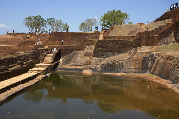 Picture of Part of the palace complex on top of Sigiriya rock with artificial pond - Sri Lanka - Asia