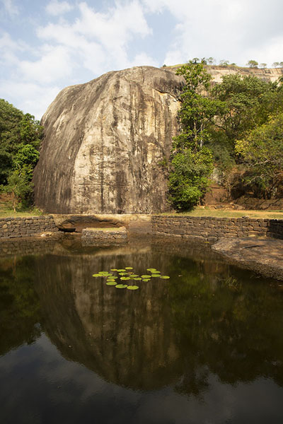 Picture of Octagonal pond with boulder at the foot of Sigiriya rock - Sri Lanka - Asia