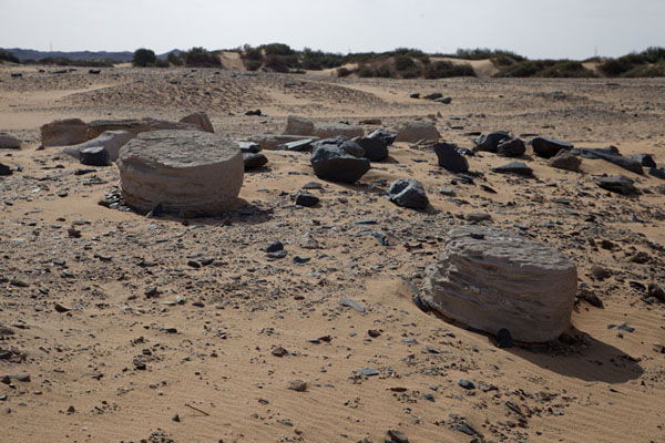 Some chunks of the old settlement of Amara West lying in the sand | Amara West | Sudan