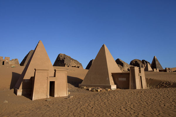 Picture of Two of the restored pyramids, with complete top, in the morning sun - Sudan - Africa