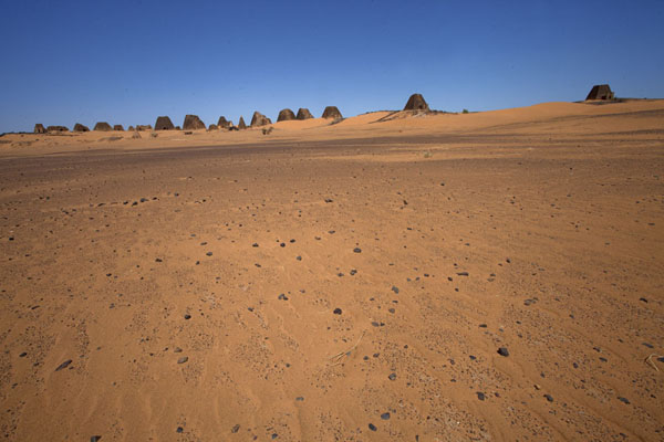 View of the pyramids of the northern cemetery from a distance | Pyramids of Begrawiya | Sudan