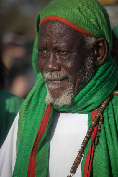 Picture of Dervish dressed in green and white at the beginning of the ceremonyOmdurman - Sudan