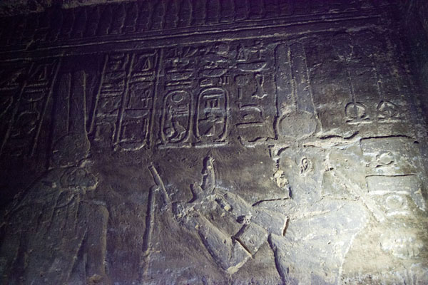 Picture of Inside the temple of Mut: walls decorated with hieroglyphsKarima - Sudan